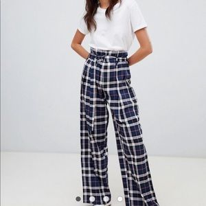 high waisted check wide leg trousers